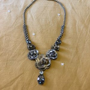 LOFT statement necklace silver gold floral